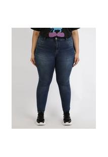 Calça Jeans Feminina Plus Size Super Skinny Pull Up Cintura Alta Azul Escuro