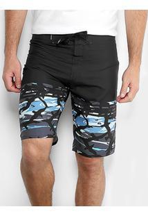Boardshort Quiksilver Gulmo Masculino - Masculino-Azul+Preto