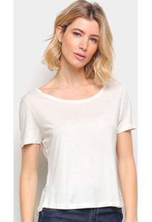 Blusa Cantão Basica Viscose Feminina - Feminino-Off White