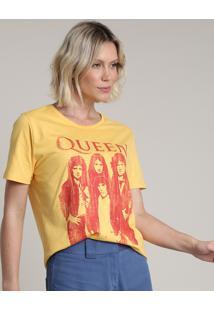 Blusa Feminina De Banda Queen Ampla Manga Curta Decote Redondo Amarela