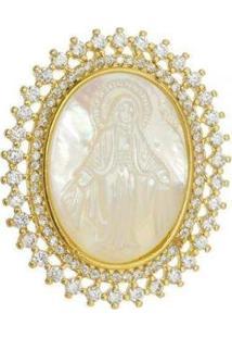 Pingente Nossa Senhora Das Graças Folheado A Ouro 18K - Feminino-Dourado