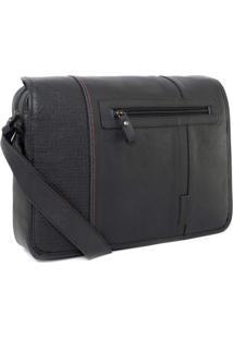 Bolsa Bennemann Carteiro Em Couro Laptop 14 Horizontal London 0127 Preto