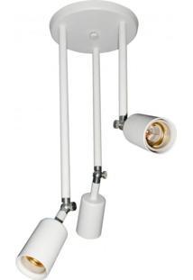 Plafon De Sobrepor 3 Lâmpadas E27 Pointer Taschibra Branco