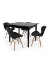 Conjunto Mesa De Jantar Robust 110X90 Preta Com 4 Cadeiras Eames Eiffel Slim - Preta