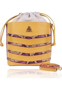 Bolsa Saco Campezzo Couro Amarelo E Snake Mondrian - Amarelo/Multicolorido - Feminino - Dafiti