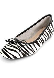 Sapatilha Couro Dali Shoes Animal Print Zebra Preto - Tricae