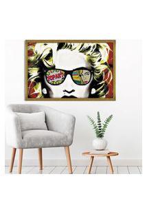 Quadro Love Decor Com Moldura Madonna Em Pop Art Dourado Médio