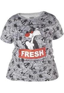Camiseta Manga Curta Plus Feminina Looney Tones Frajola - Feminino-Mescla