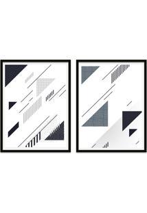 Quadro Oppen House 67X100Cm Formas Geométricas Liberté Cinza Moldura Preta Com Vidro