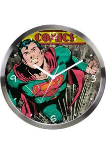 Relógio De Parede Dco Metal Superman 30Cm Prata