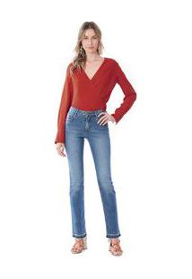 Calça Maria.Valentina Straight M. Helena Cós Intermediário Barra Desmanchada Jeans