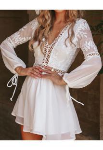 Vestido Branco Com Renda Transparências
