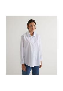 Camisa Manga Longa Em Tricoline Com Listras E Pregas No Punho | Marfinno | Branco | G