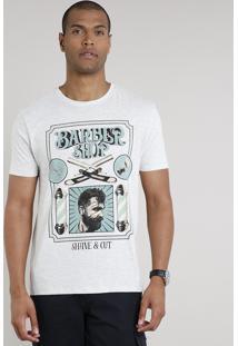 "Camiseta Masculina ""Barber Shop"" Manga Curta Gola Careca Cinza Mescla Claro"