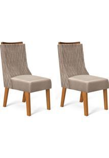 Conjunto Com 2 Cadeiras De Jantar Amélia Telha E Caqui