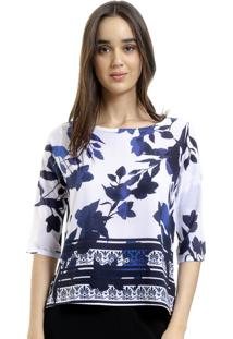 Blusa 101 Resort Wear Tunica Crepe Folhagem Azul