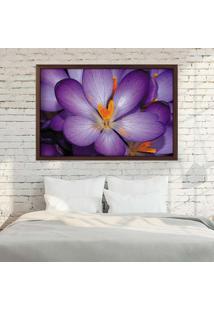 Quadro Love Decor Com Moldura Violetas Madeira Escura Grande