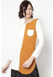 Blusa Com Bolso- Off White & Marrom Claro- Blessbless