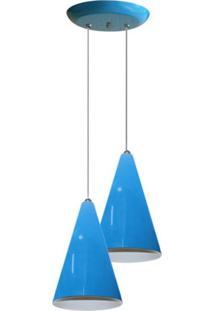 Luminaria Pendente Colorido Duplo Para Sala Quarto Cozinha Azul