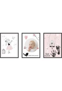 Quadro 30X60Cm Infantil Lembrança Bebê Menina Moldura Preta Com Vidro Decorativo