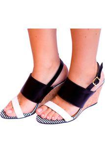Sandália Listras Preto E Branco Salto Cortiça