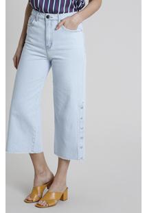 Calça Jeans Feminina Bbb Pantacourt Cintura Alta Com Botões Barra Desfiada Azul Claro