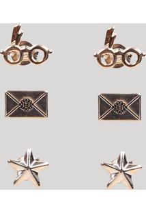 Kit De 3 Brincos Harry Potter Dourado - Único