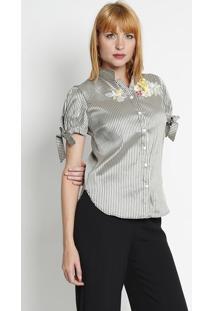 48b64ceec8 ... Camisa Listrada Com Bordado - Cinza   Verde Militar Silk Lord