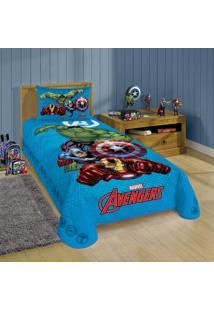 Colcha Matelassê Solteiro Estampada Avengers 1,50 M X 2,10 M Com 1 Peça Lepper Azul