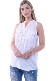 Blusa Regata Botões E Bolsos Pop Me Feminina - Feminino-Branco