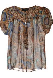Fillity Blusa Com Abotoamento Estampada - Estampado
