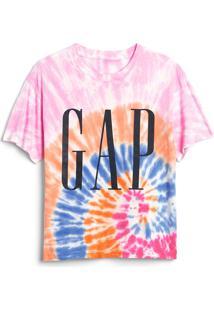 Camiseta Gap Tie Dye Rosa/Laranja