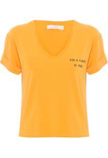Camiseta Feminina Decote V - Amarelo