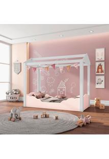 Mini Cama Casinha Montessoriana Colorê Rose/Branco Pura Magia - Tricae