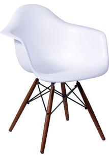 Poltrona Eames Com Braã§Os- Branca & Marrom Escuro- 8Or Design