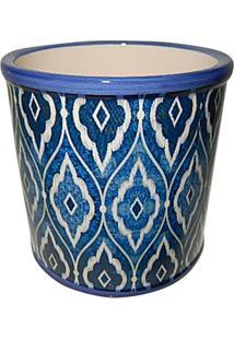 Cachepot Rounded Marrocan- Azul Royal & Branco- 12,5Urban