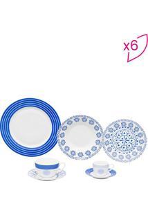 Aparelho De Jantar High- Branco & Azul- 42Pçswolff