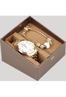 Kit De Relógio Analógico Mondaine Feminino + Pulseira - 53671Lpmvde1Kb Dourado - Único