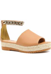 Sandália Plataforma Metais Zariff Shoes Feminino - Feminino-Nude