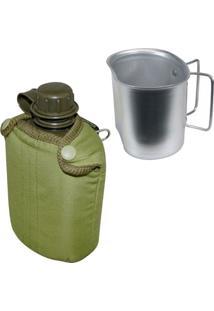Cantil De Plástico 0,9L Com Capa Nautika + Caneca Para Tático Guepardo