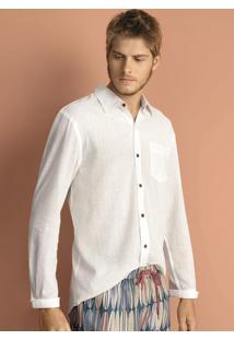 Camisa Masculina Em Tecido De Algodão Com Fio Tinto