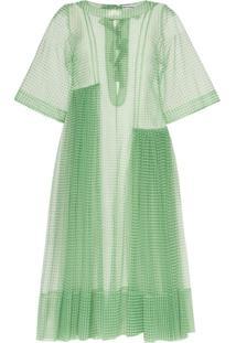 Molly Goddard Vestido Blessing Xadrez Com Babados - Verde