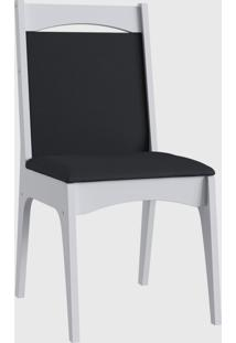 Cadeira Mdf Estofada Com Travessa Par Branco Móveis Canção