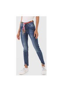 Calça Jeans Desigual Skinny Paint Splatter Azul