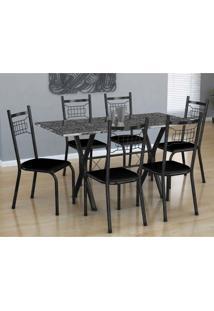 Conjunto De Mesa Miami Com 6 Cadeiras Lisboa Preto