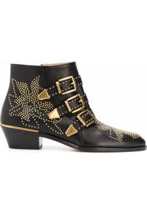 Chloé Ankle Boot Susanna Com Tachas E Salto 30Mm - Preto