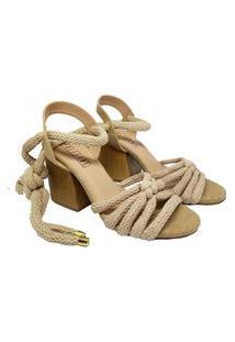 Sandalia De Salto E Tecido Creme