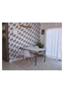 Conjunto De Mesa Dobrável Retrátil 1,40 Branco/Noronha + 4 Cadeiras Eiffel - Branca