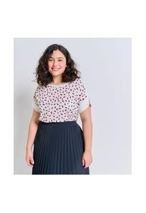 Blusa Com Frente Em Tecido Plano Estampado Curve E Plus Size Branco