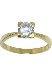 96cff0285a0af Anel Solitario Banhado A Ouro Com Pedra Media De Zirconia - Feminino-Dourado
